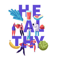 Healthy fitness food typography banner design vector