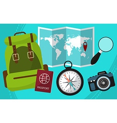 Hike and travel by world with passport facilities vector