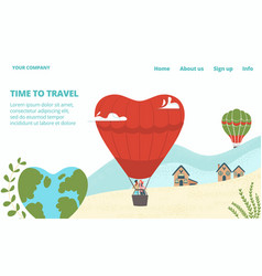 hot tour for lovers tourism with air balloons vector image