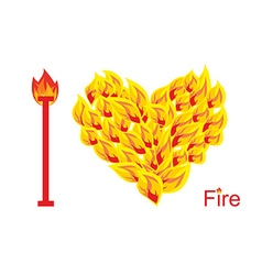 I love fire Symbol of heart of flame Flaming heart vector