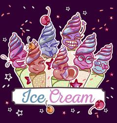 ice cream smiles set vector image