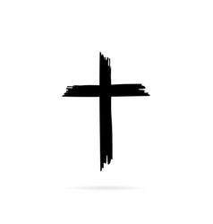 icon cross with shadow ona white background vector image