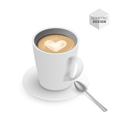 isometric cappuccino coffee cup vector image