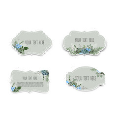 labels set with flowers frame border with vector image