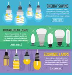 Lamp energy banner horizontal set flat style vector