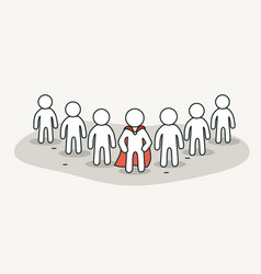 little white people with superhero leader vector image