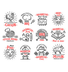 Meat products icons signs steaks on barbeque grill vector