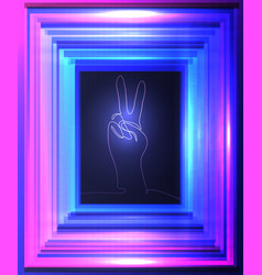 neon of gesture of hand from vector image
