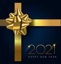 new year 2021 gold gift box ribbon card vector image