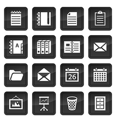 Office and document icons with black buttons with vector