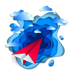 Origami paper plane toy flying in the sky with vector