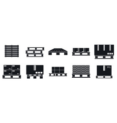 Pallet tray icons set simple style vector