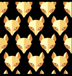 paper foxes black seamless pattern vector image