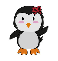 Penguin waving hello or bye cute animal cartoon vector