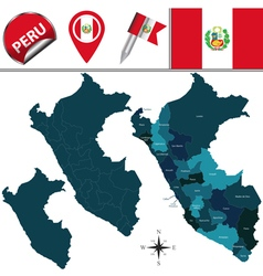 Peru map with named divisions vector
