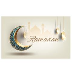 Ramadan kareem with crescent moon gold luxurious vector