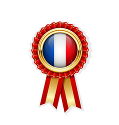 red rosette with france flag in gold badge french vector image