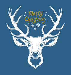 reindeer head isolated on blue background vector image