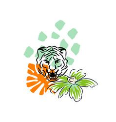 roaring tiger hand drawn style t-shirt print vector image