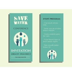 Save water conference flyer invitation template vector