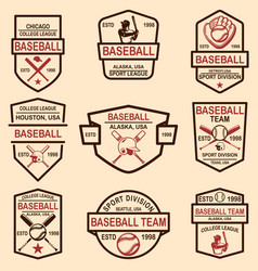 set baseball emblems design element for logo vector image