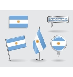 Set of Argentinean pin icon and map pointer flags vector