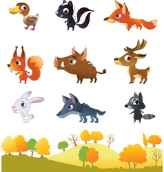 Set of cartoon forest animals vector image