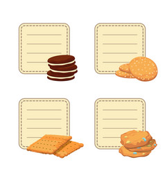 Set of stickers with cartoon cookies vector