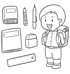 set of student and stationery vector image