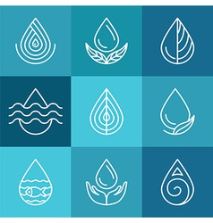 Set of water symbols and signs vector