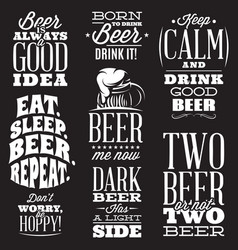 set stylized quotes on topic beer vector image