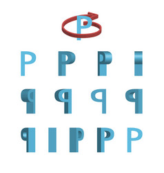 Sheet of sprites rotation of cartoon 3d letter p vector