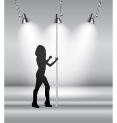 silhouette dancing striptease girl on pole vector image