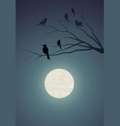 Silhouettes of crows on tree branches vector