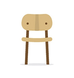 Single Wooden Chair On White Background vector image