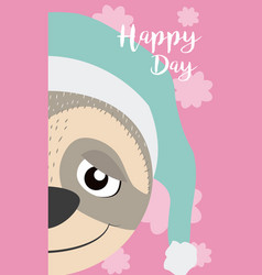 Sloth cute animal cartoon card vector