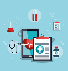 Smartphone with medical services app vector