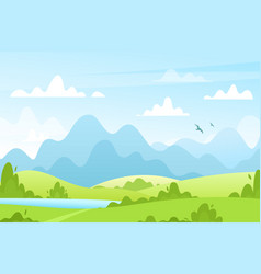 Spring summer fields landscape with trees vector