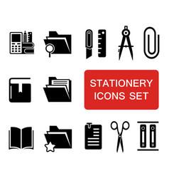 stationery icon set vector image