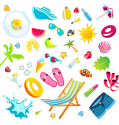 summer vacation accessories flat icons set vector image