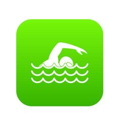 swimmer icon digital green vector image
