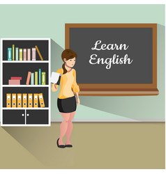 Teacher with board learn english vector