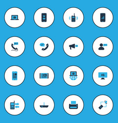 Telecommunication icons colored set with love vector