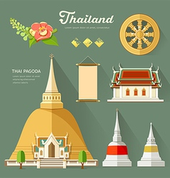 Thai Pagoda with temple wheel of life of thailand vector image