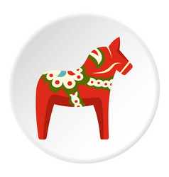 Toy horse icon circle vector