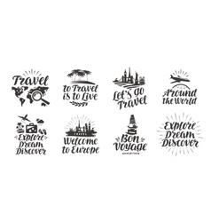 Travel journey set icons Handwritten lettering vector