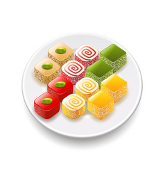 Turkish sweets isolated on white vector image