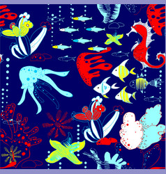 underwater world with fish jellyfish sea horses vector image