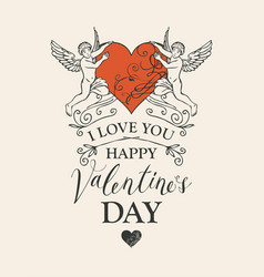valentine card or banner with angels and heart vector image
