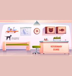 Vet clinic reception or veterinary hall interior vector